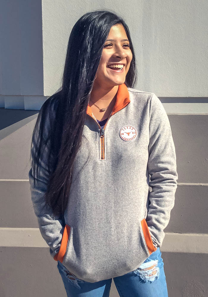 Texas Longhorns Womens Grey Fiona 1/4 Zip Pullover - Image 2