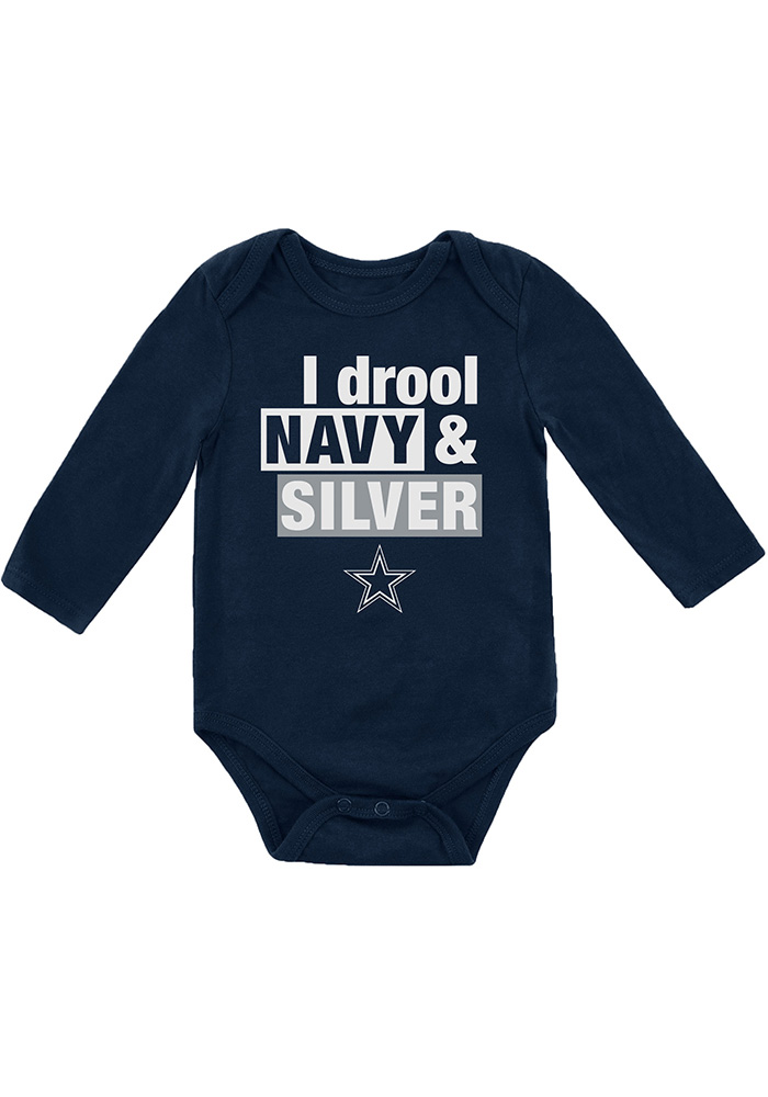 huge selection of 306cf a6b76 Dallas Cowboys Baby Navy Blue I Drool Long Sleeve One Piece