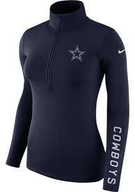 Dallas Cowboys Womens Nike Pro Half Zip 1/4 Zip - Navy Blue