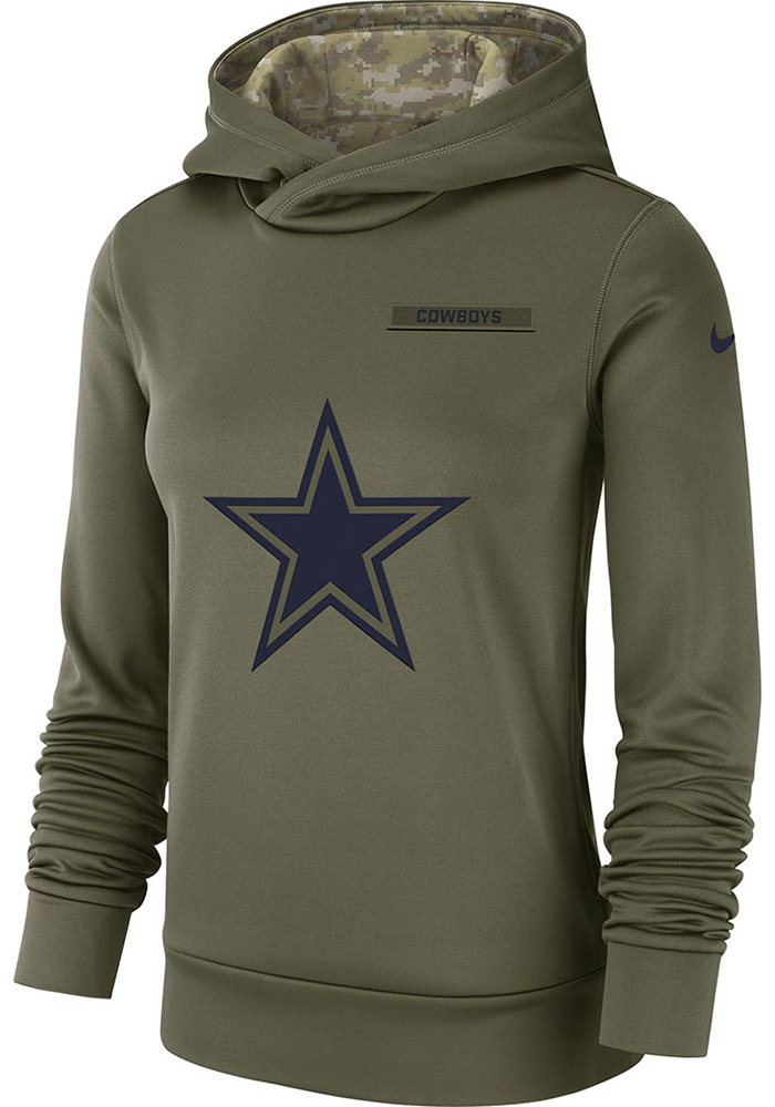 online store b84d6 d17a0 Nike Dallas Cowboys Womens Green STS Therma Hooded Sweatshirt