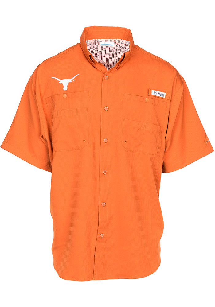 Columbia Texas Longhorns Mens Burnt Orange Tamiami Short Sleeve Dress Shirt - Image 1
