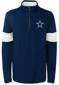 Dallas Cowboys Youth Yard Line Quarter Zip - Navy Blue