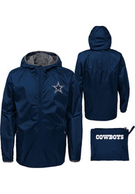 Dallas Cowboys Youth Jacket in a Bag Light Weight Jacket - Navy Blue