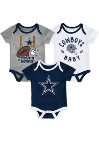 Dallas Cowboys Baby Champ SS 3PK One Piece - Navy Blue
