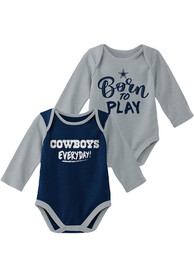 Dallas Cowboys Baby Little Player LS 2PK One Piece - Navy Blue