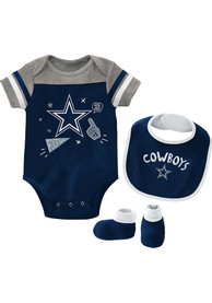 Dallas Cowboys Baby Navy Blue Tackle One Piece with Bib