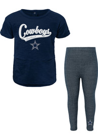 Dallas Cowboys Toddler Girls Diamond Top and Bottom Set Navy Blue