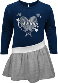 Dallas Cowboys Toddler Girls Navy Blue Heart LS Dresses