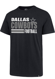 Dallas Cowboys 47 Stacked Stripe Super Rival T Shirt - Navy Blue
