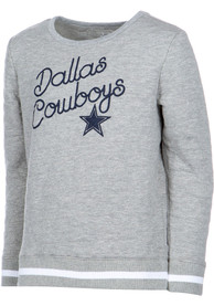 Dallas Cowboys Girls Grey Claire Crew Sweatshirt
