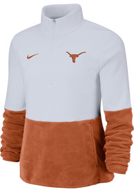 Nike Texas Longhorns Womens Therma Fleece White 1/4 Zip Pullover