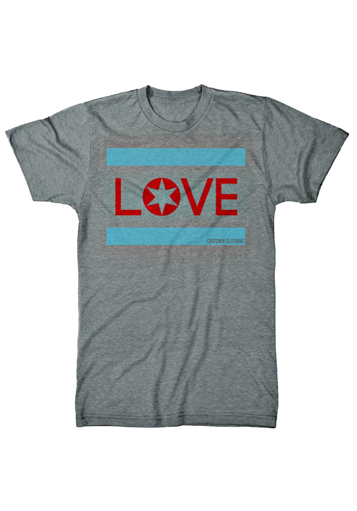 Chitown Clothing Chicago Grey Love Short Sleeve T Shirt - Image 1
