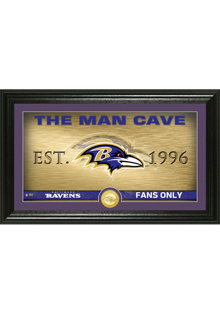 Baltimore Ravens Man Cave Bronze Coin 12x20 Picture Frame - Image 1