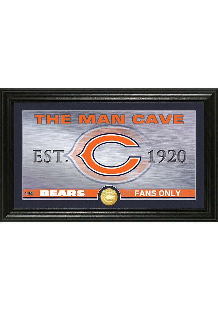 Chicago Bears Man Cave Bronze Coin 12x20 Picture Frame - Image 1