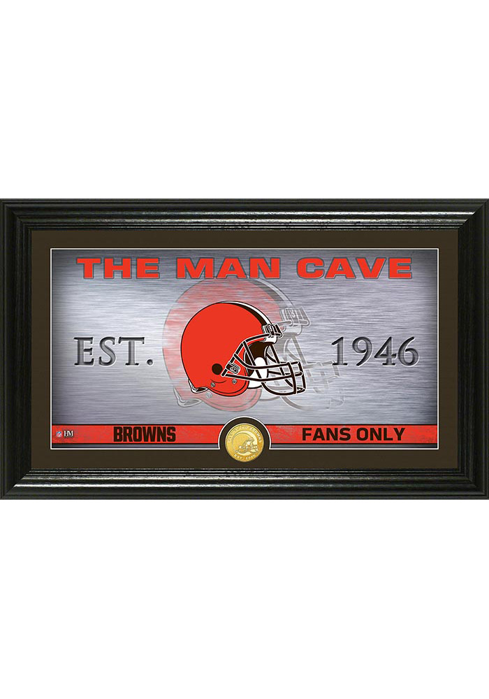 Cleveland Browns Man Cave Bronze Coin 12x20 Picture Frame - Image 1