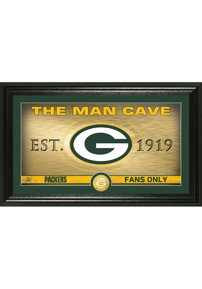 Green Bay Packers Man Cave Bronze Coin 12x20 Picture Frame 4440120
