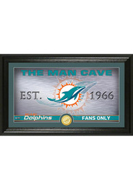 Miami Dolphins Man Cave Bronze Coin 12x20 Picture Frame