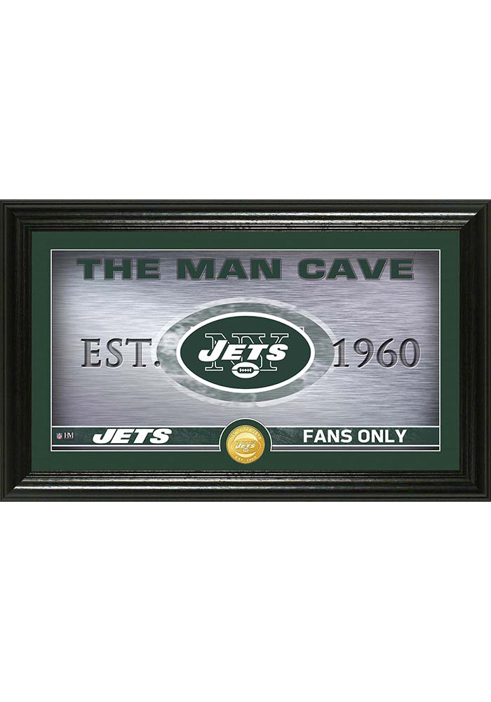 New York Jets Man Cave Bronze Coin 12x20 Picture Frame 4440131