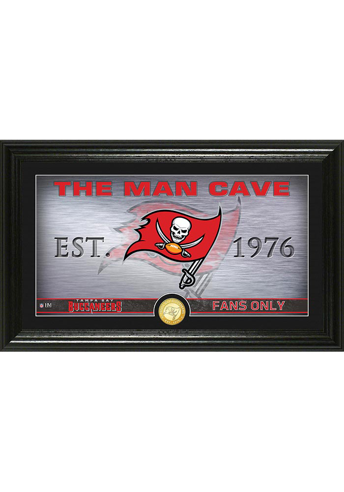 Tampa Bay Buccaneers Man Cave Bronze Coin 12x20 Picture Frame - Image 1