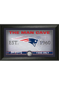 New England Patriots Man Cave Silver Coin 12x20 Picture Frame