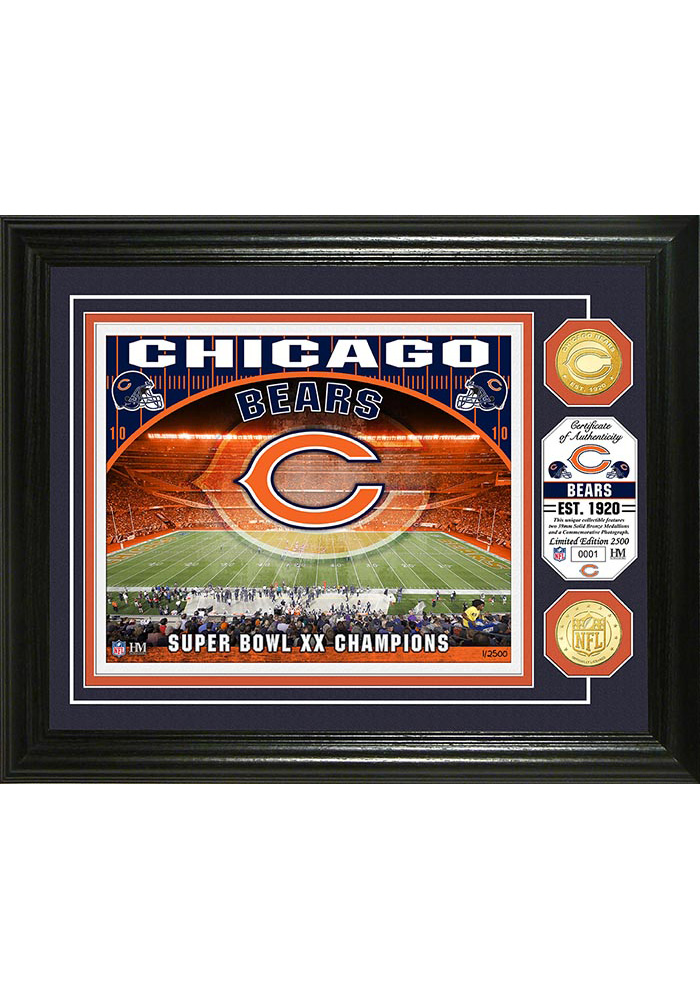 Chicago Bears Stadium Bronze Coin 13x16 Picture Frame - Image 1