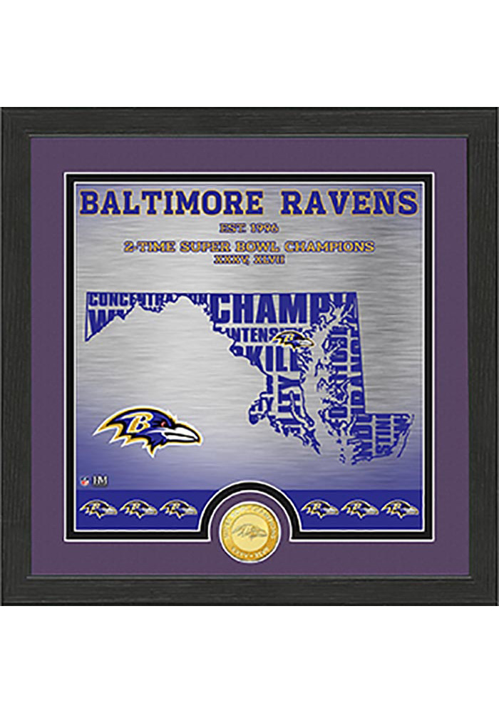 Baltimore Ravens State Bronze Coin 13x13 Picture Frame - Image 1