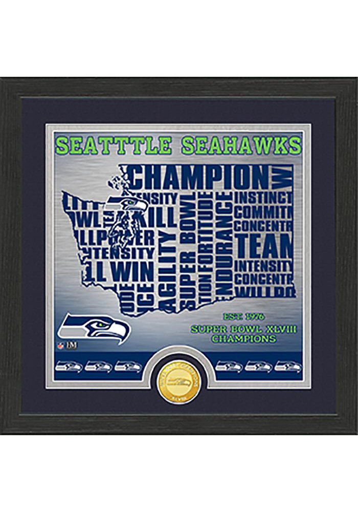 Seattle Seahawks State Bronze Coin 13x13 Picture Frame - Image 1