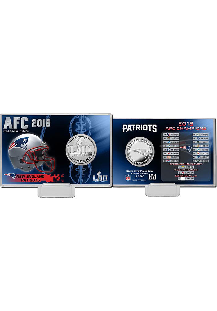 New England Patriots 2018 AFC Champions Silver Mint Collectible Coin - Image 1