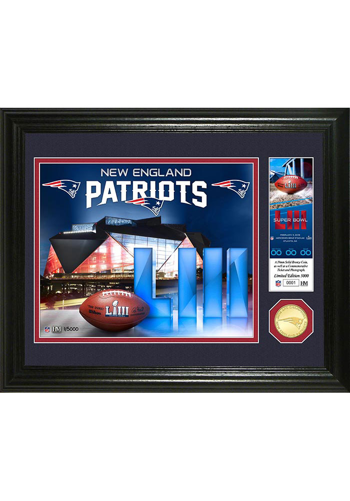 New England Patriots 2018 AFC Champions Bronze Coin 13x16 Picture Frame - Image 1
