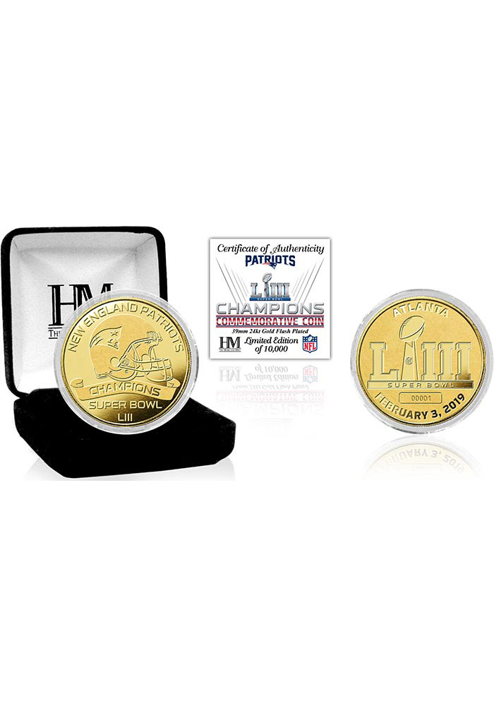 New England Patriots Super Bowl LIII Champions Gold Collectible Coin - Image 1