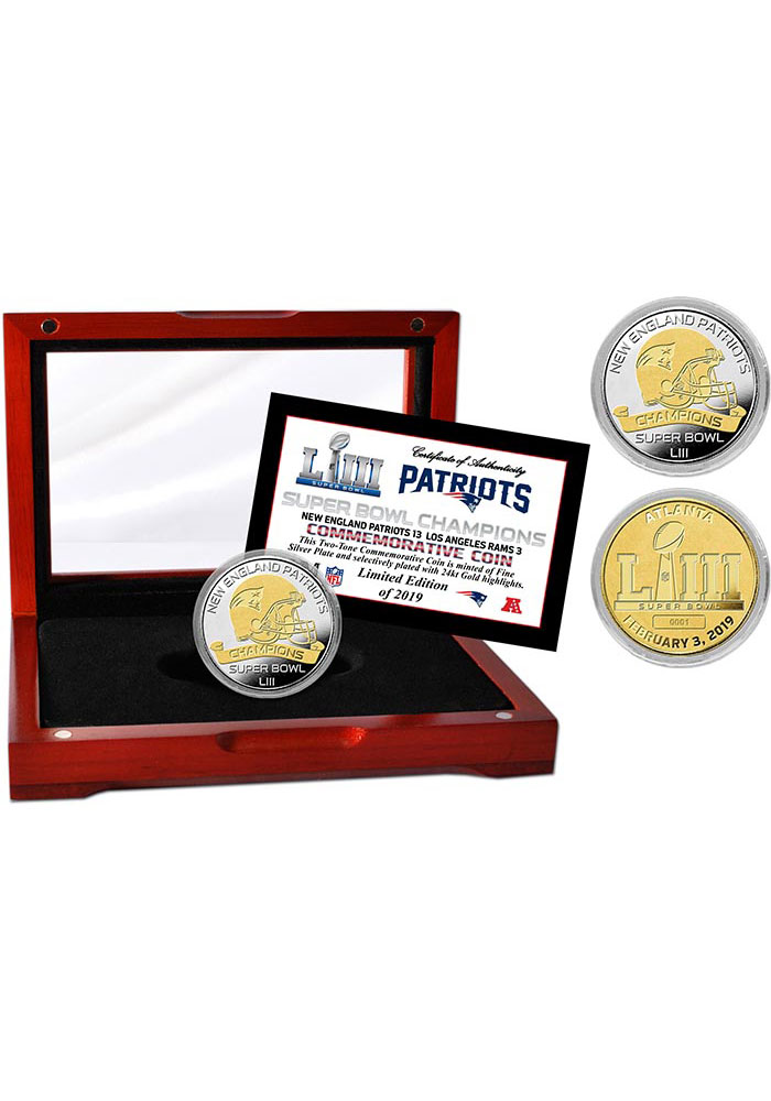 New England Patriots Super Bowl LIII Champions Two-Tone Collectible Coin - Image 1