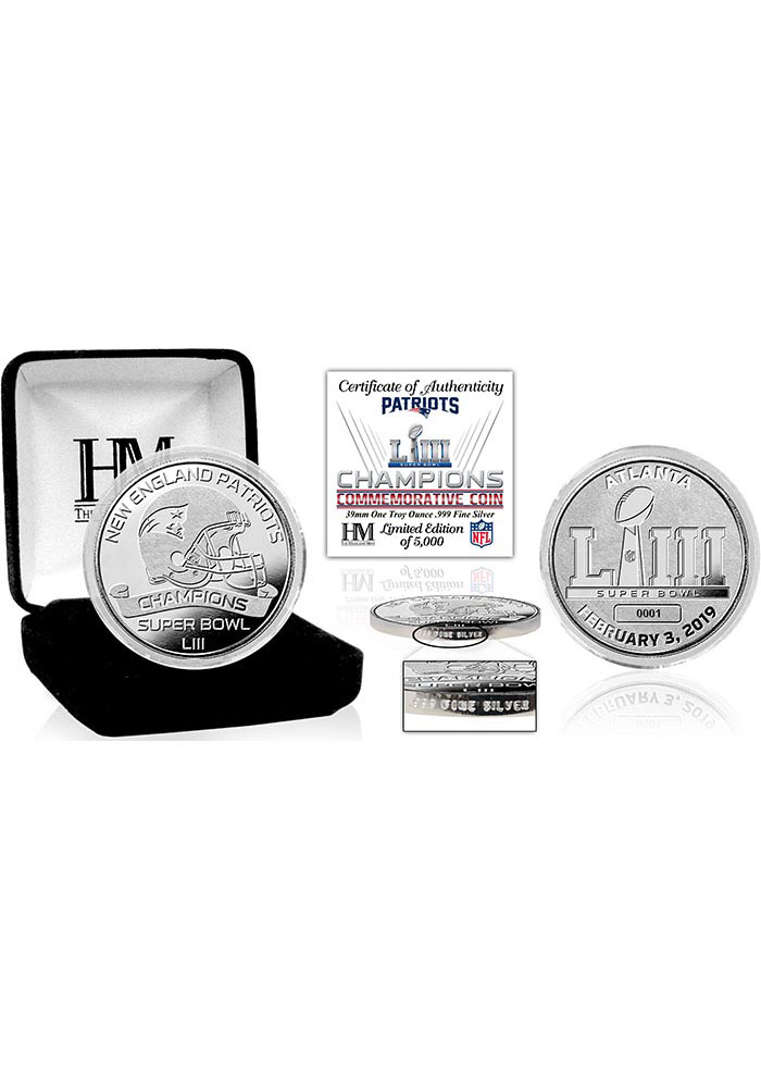 New England Patriots Super Bowl LIII Champions Pure Silver Collectible Coin - Image 1