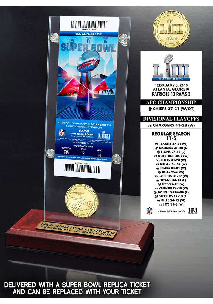 New England Patriots Super Bowl LIII Champions Bronze Coin Ticket Plaque - Image 1