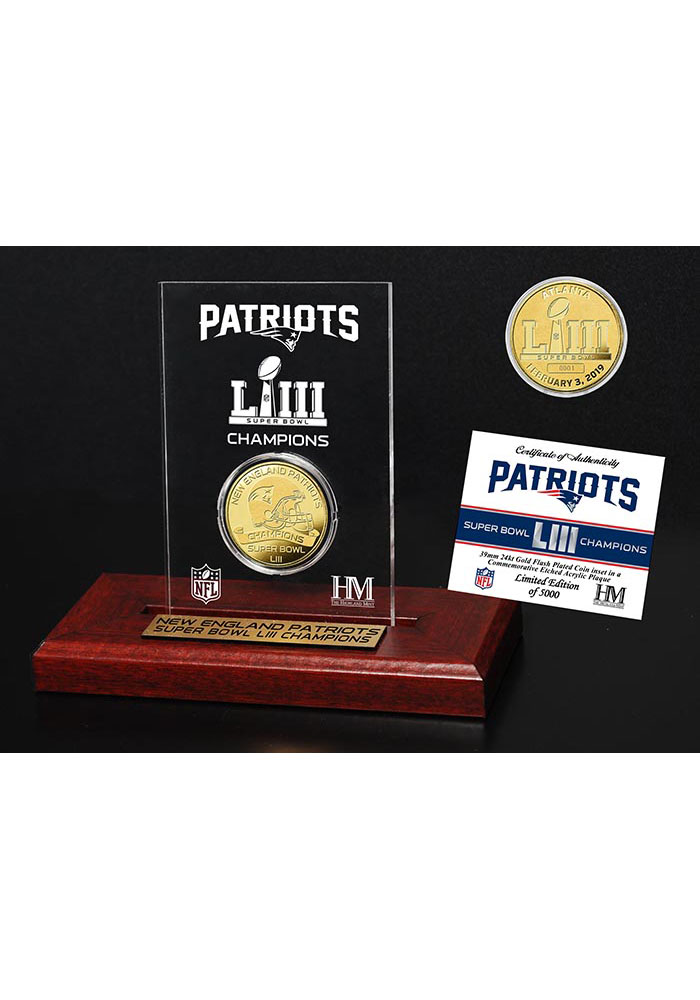 New England Patriots Super Bowl LIII Champions Gold Coin Plaque - Image 1