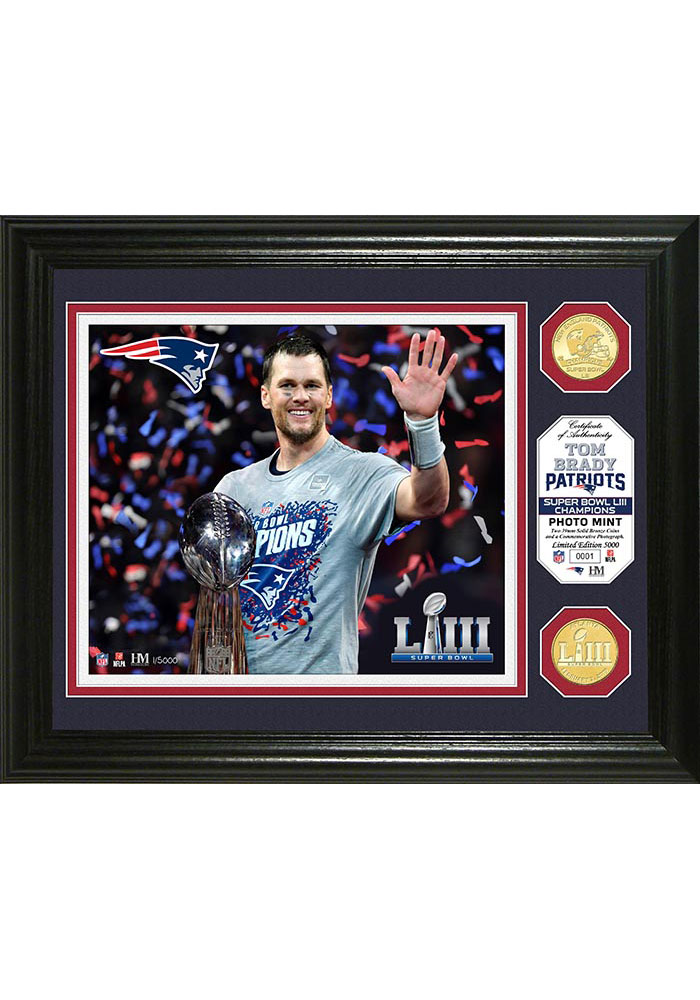 New England Patriots Super Bowl LIII Trophy Bronze Coin Photo 12x20 Picture Frame - Image 1
