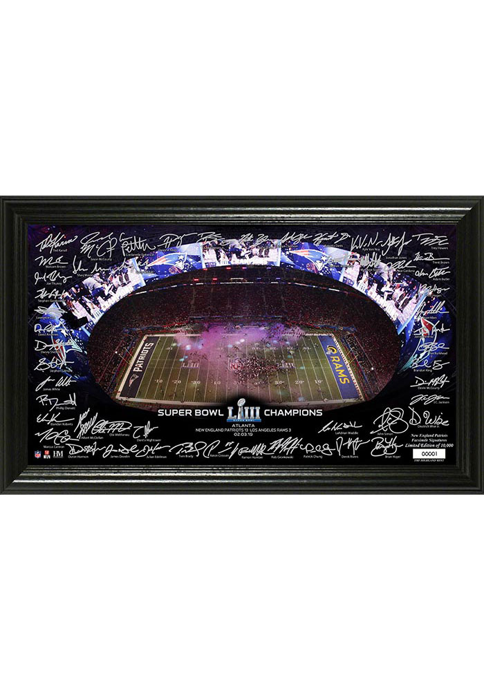 New England Patriots Super Bowl LIII Champions Signature 12x20 Picture Frame - Image 1