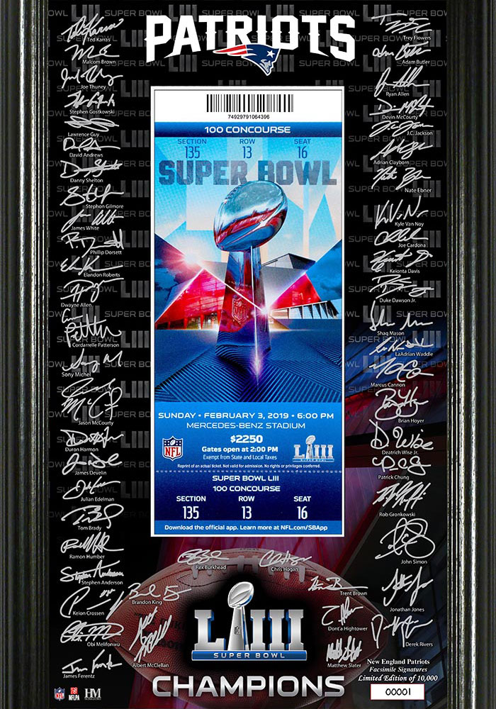 New England Patriots Super Bowl LIII Champions Signature Ticket 12x20 Picture Frame - Image 1