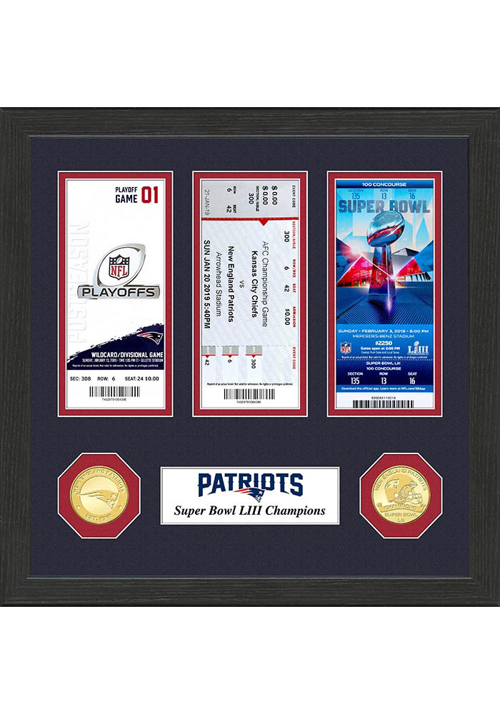 New England Patriots Super Bowl LIII Ticket Collection 12x12 Picture Frame - Image 1