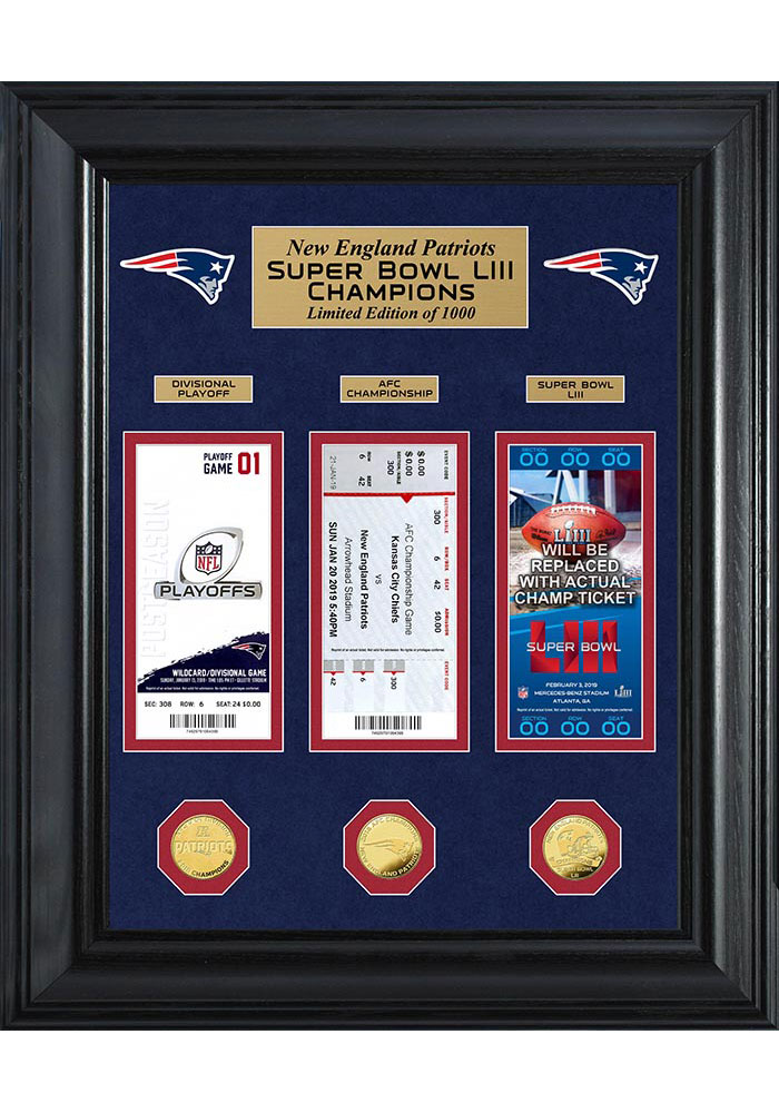 New England Patriots Super Bowl LIII Gold Coin and Ticket Collection 27x20 Picture Frame - Image 1