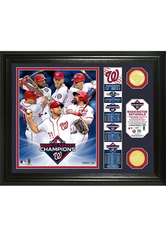 Washington Nationals 2019 World Series Champions Bronze Coin Plaque - Image 1
