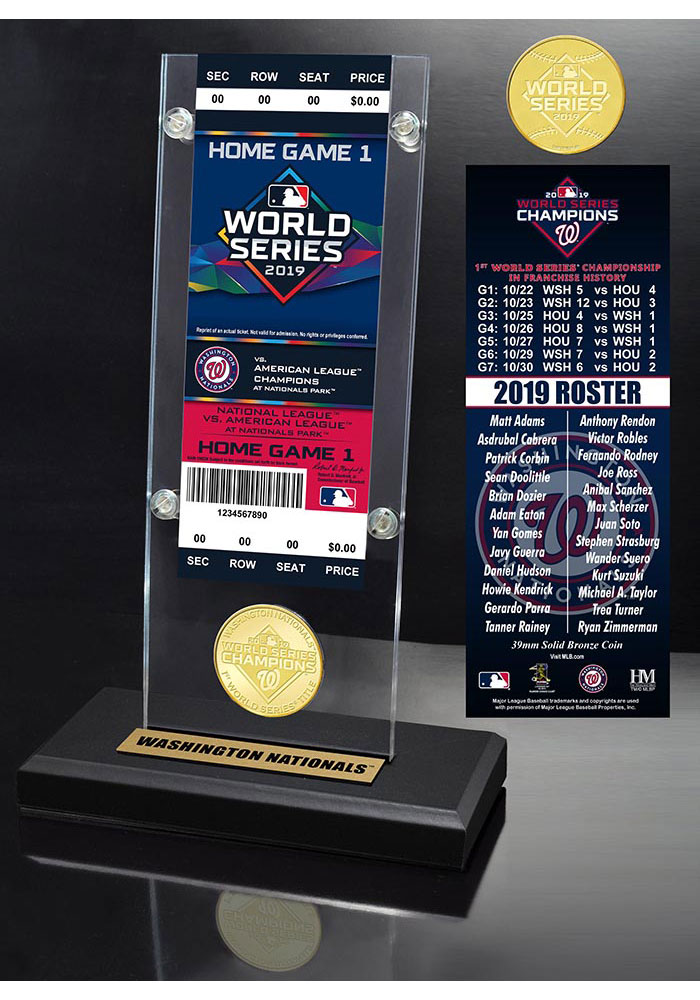 Washington Nationals 2019 World Series Champions Ticket Bronze Coin Plaque - Image 1