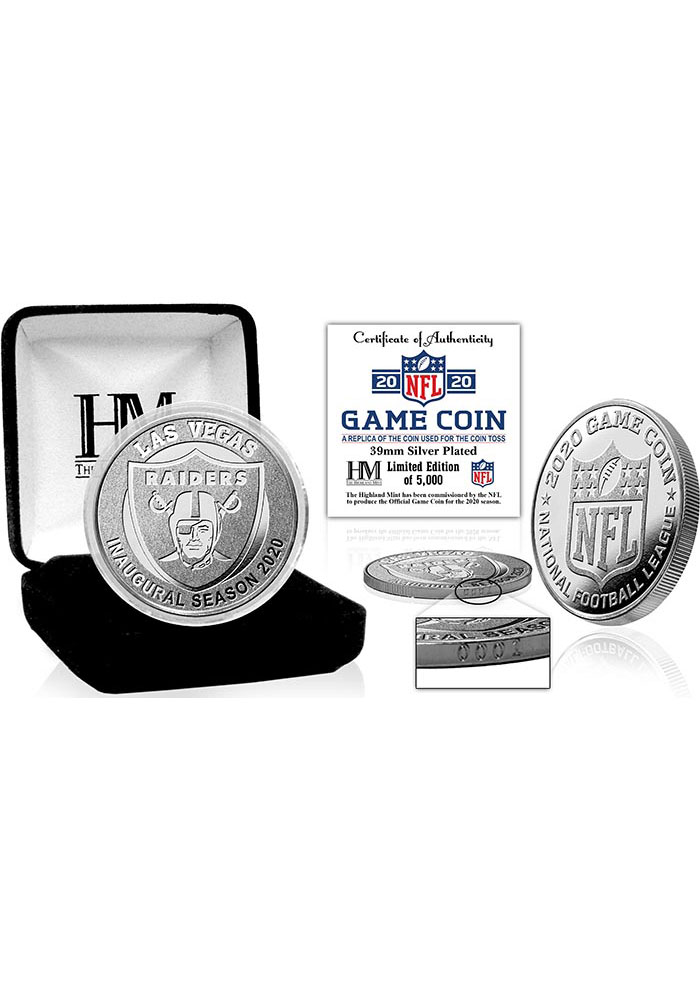 Las Vegas Raiders Silver Mint Game Flip Collectible Coin - Image 1