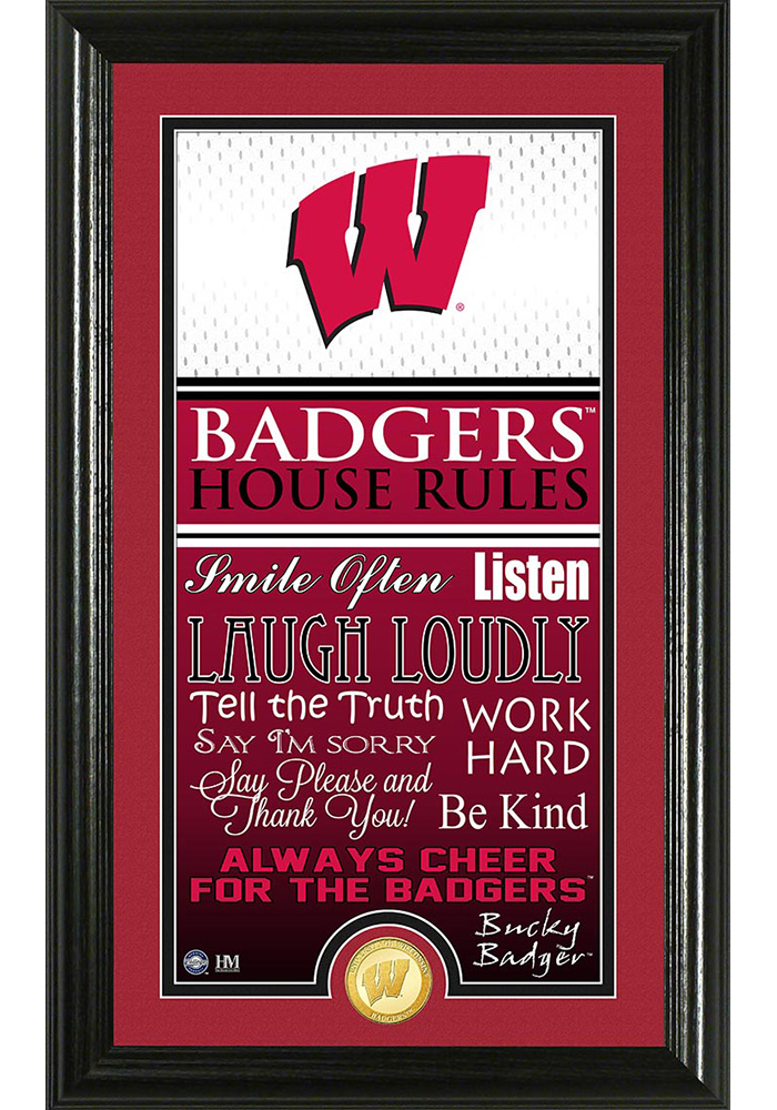 Wisconsin Badgers 12x20 House Rules Plaque - Image 1
