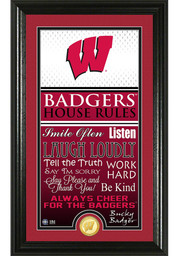Wisconsin Badgers 12x20 House Rules Plaque