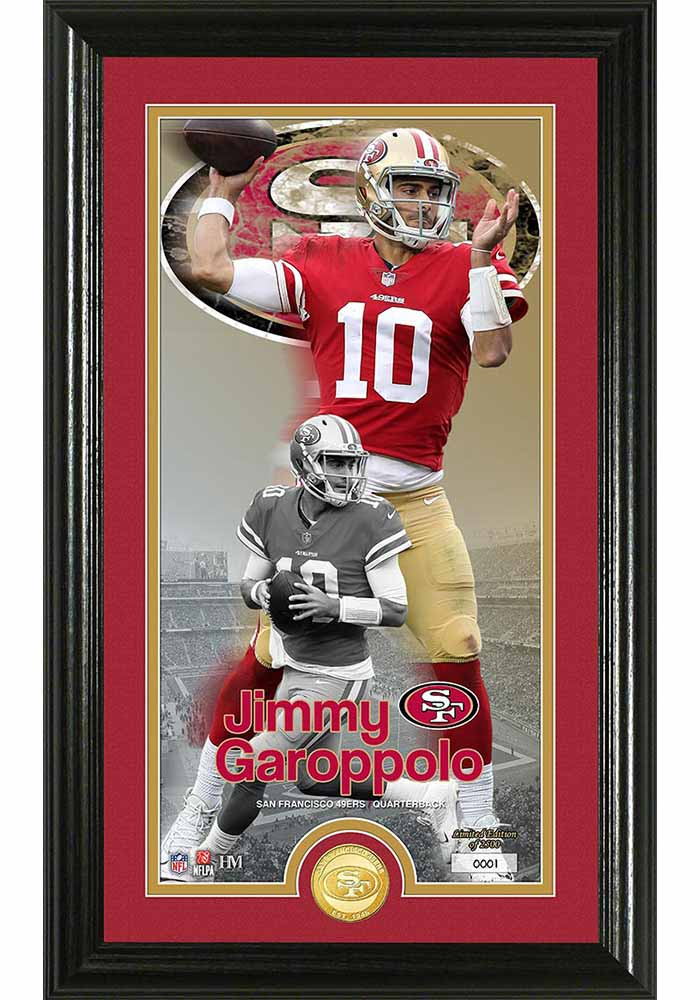 San Francisco 49ers Jimmy Garoppolo Bronze Coin Photo Mint Plaque - Image 1