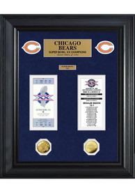 Chicago Bears Super Bowl Ticket Collection Plaque
