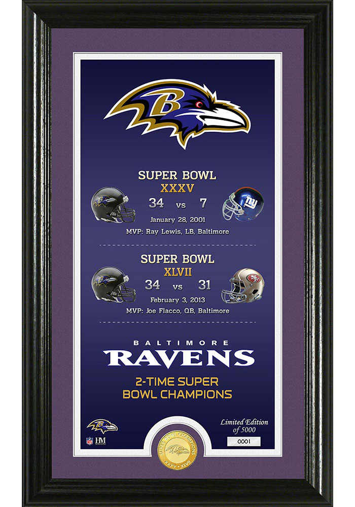 Baltimore Ravens Legacy Bronze Coin Photo Mint Plaque - Image 1