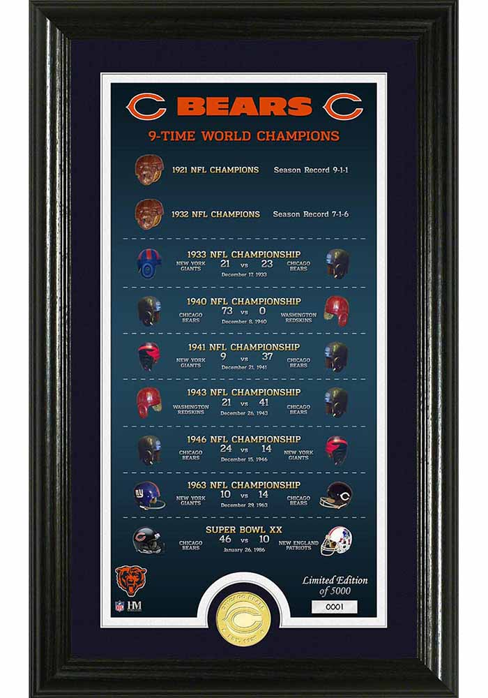 Chicago Bears Legacy Bronze Coin Photo Mint Plaque - Image 1