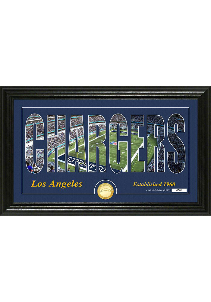 Los Angeles Chargers Silhouette Bronze Coin Photo Mint Plaque - Image 1