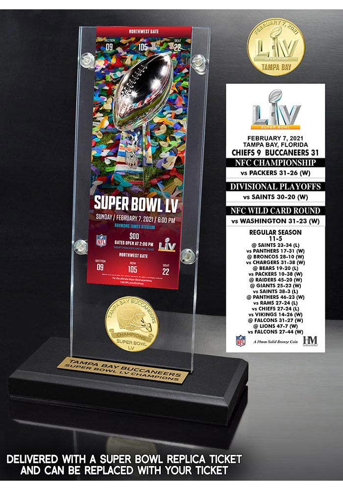 Tampa Bay Buccaneers Super Bowl LV Champions Acrylic Display Ticket Mint Collectible Coin - Image 1
